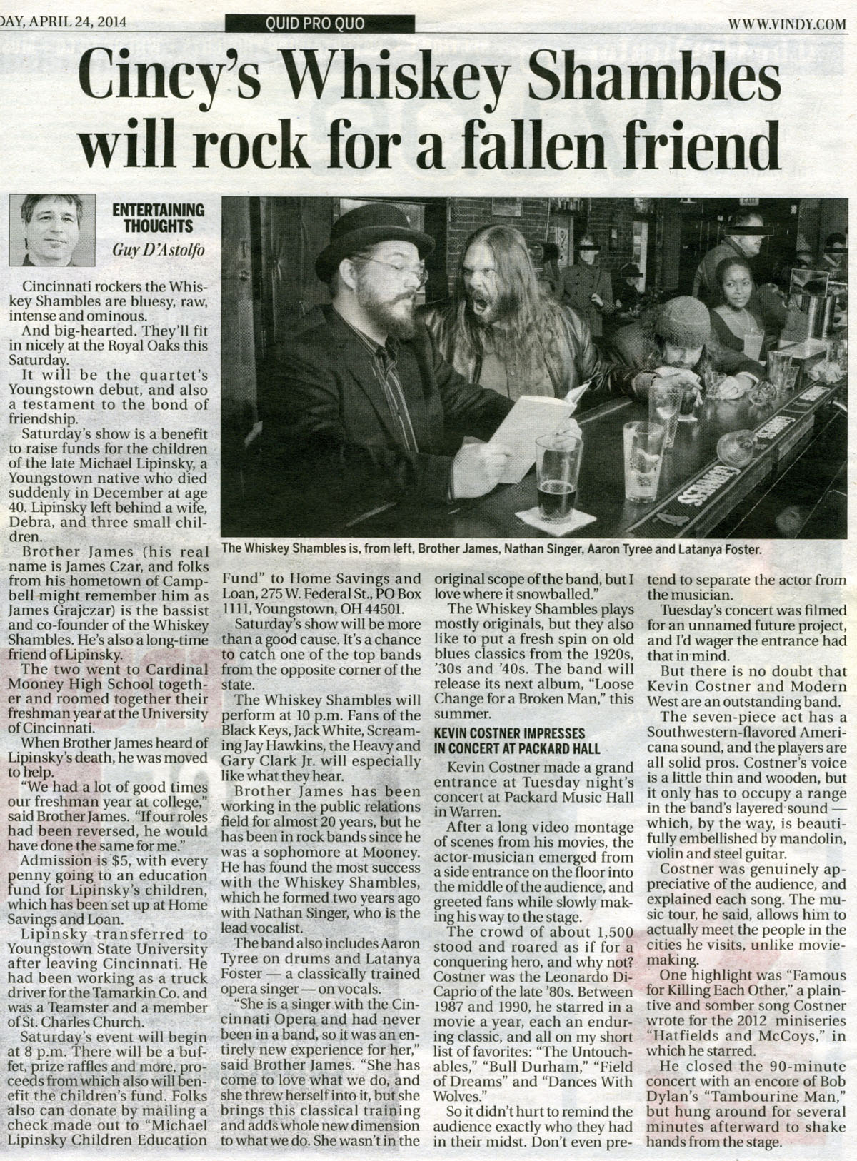 The Whiskey Shambles – 2014-04-24 Youngstown Vindicator article